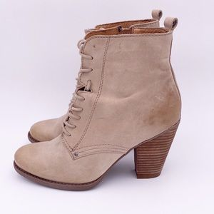 Aldo leather lace up stacked heel booties